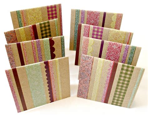Handmade Note Cards - kraft mini note cards in glitter and stripes pattern set