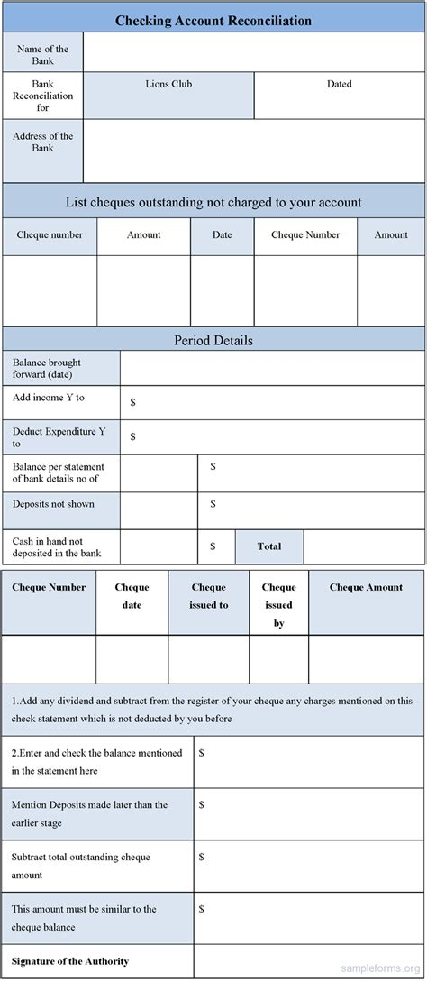 account reconciliation template sle checking account reconciliation form sle forms