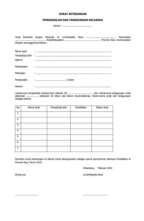surat keterangan penghasilan dan tanggungan keluarga
