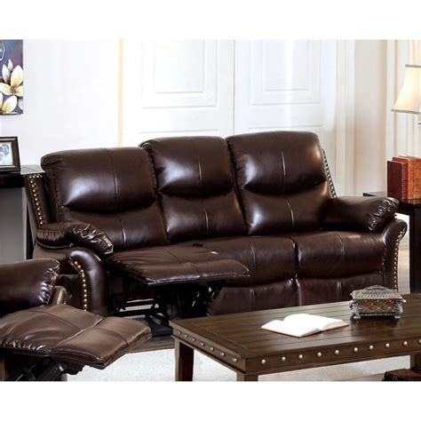 Rustic Reclining Sofa Furniture Of America Wess Leather Reclining Sofa In Rustic Brown 889435383625 Ebay