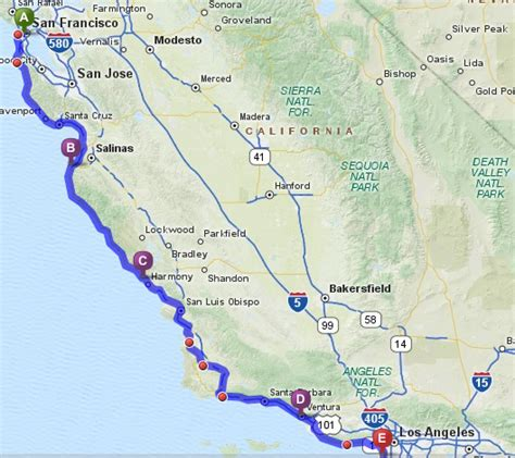 california map from san francisco to la san francisco california to la or sf to la motorcycle tour