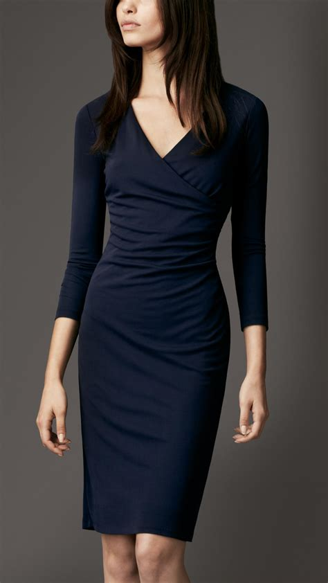Crossover Dress burberry ruched crossover dress in blue lyst
