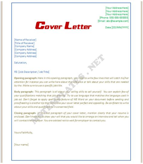 Cover Letter Exles Word Format Cover Letter Template Save Word Templates