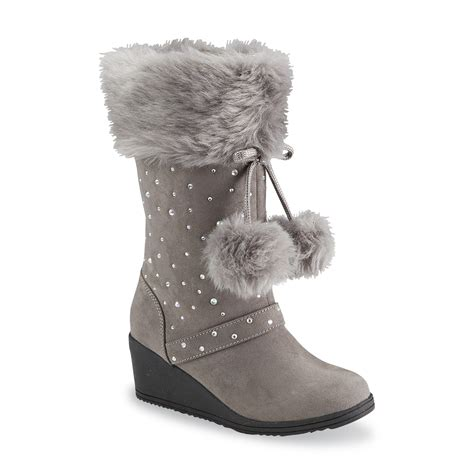 piper s rachelle gray faux fur wedge boot