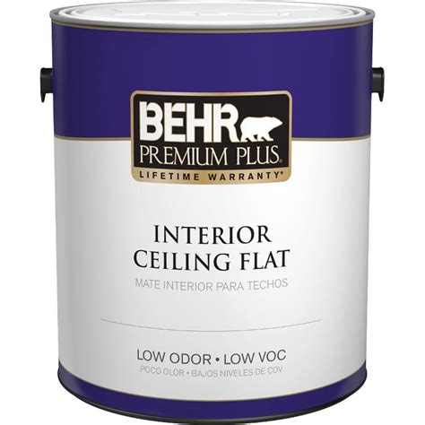 behr premium plus 1 gal flat interior ceiling paint 55801 the home depot