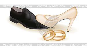 Goldene Schuhe Hochzeit by Hochzeits Schuhe Und Goldene Ringe Vektor