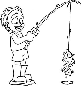 coloring page of little boy fishing you must actually teach the man to fish