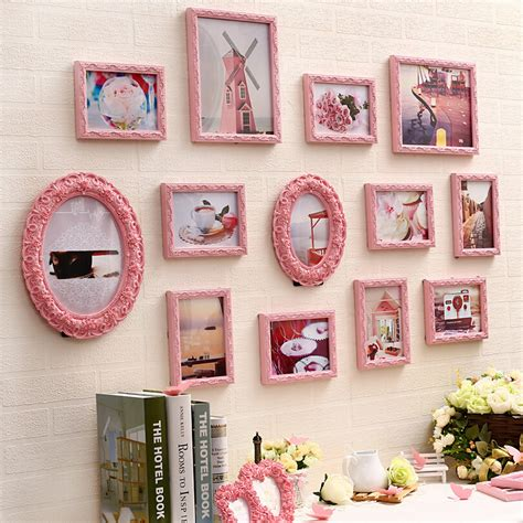 collage sets page2 13 pcs set carved wooden photo frame set pink white