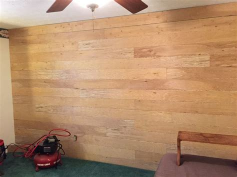 shiplap den covering impossible to remove wallpaper with faux shiplap