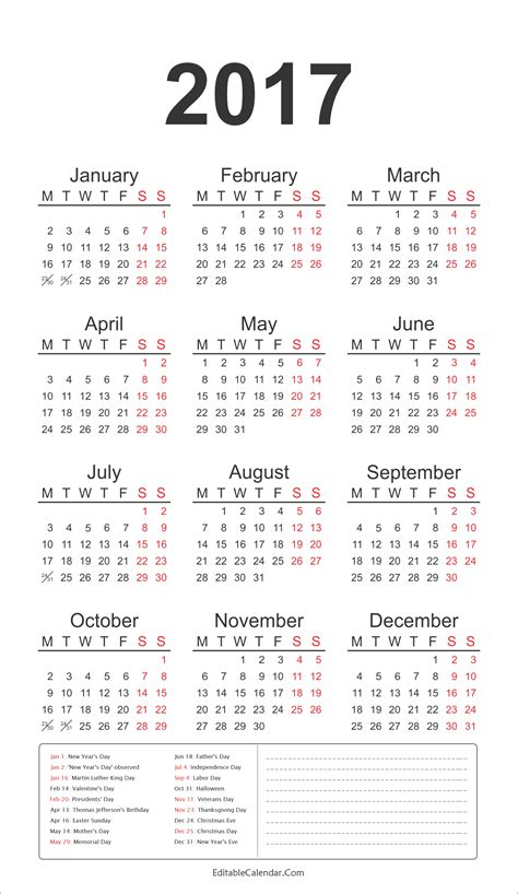 2017 Annual Calendar With Holidays 2017 Calendar Template With All Holidays Yearly Calendar