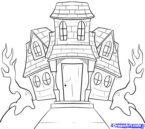 how to draw a house for kids step by step drawing haunted house clipart easy pencil and in color haunted