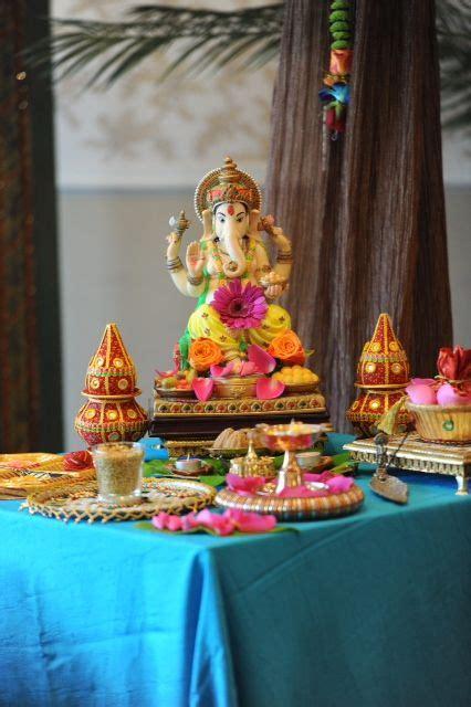 colourful ganesh table indian wedding decoration