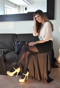 Black pencil skirt cream blouse sheer black pantyhose and cream high