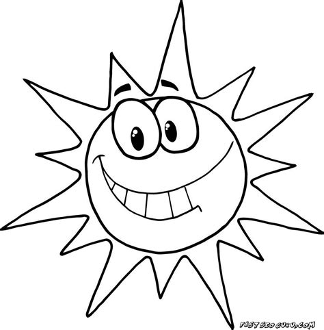 spring sun coloring page printable cartoon character smiling sun coloring pages