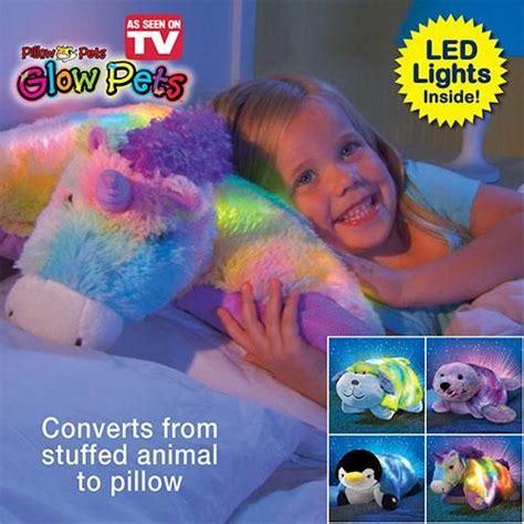 light up unicorn pillow pet glow pets light up stuffed animal pillow from the