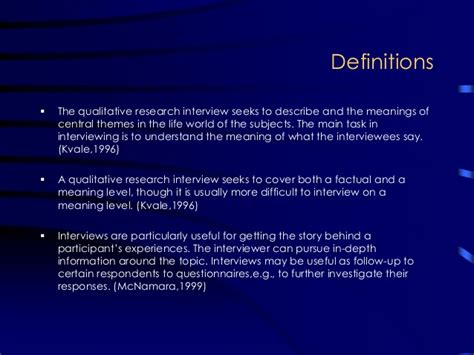 central themes in qualitative research interview as a method for qualitative research