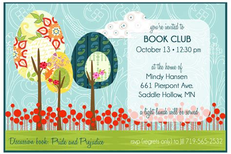 book club invitation template diy printable custom invitation for book club retirement