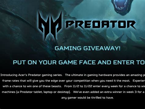 acer predator gaming sweepstakes - Gaming Sweepstakes 2015
