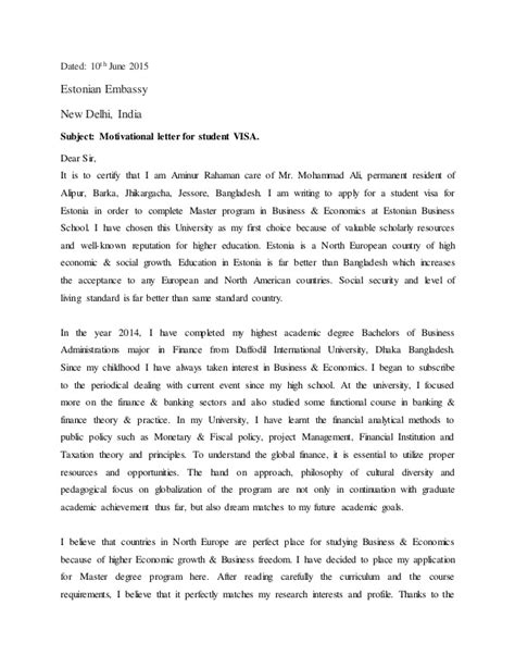 Motivation Letter For In Embassy Motivational Letter For Student Visa