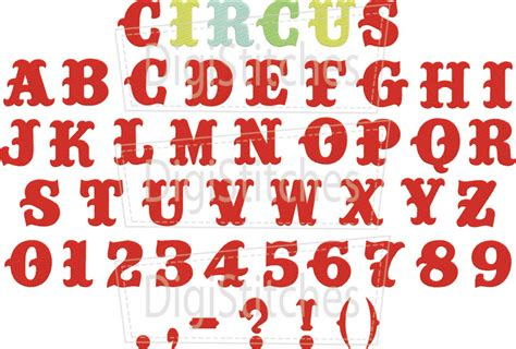 printable circus fonts circus embroidery font digistitches machine embroidery