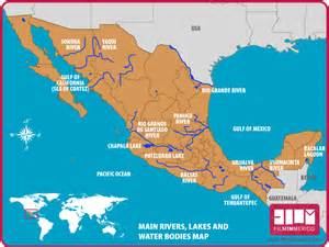 us waterways and mexico map lakes rivers in mexico