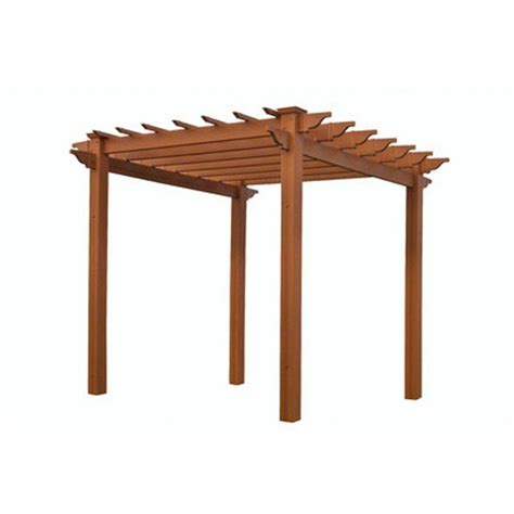 New England Arbors Lakewood 6 1 2 Ft X 6 1 2 Ft Cedar Pergolas Home Depot