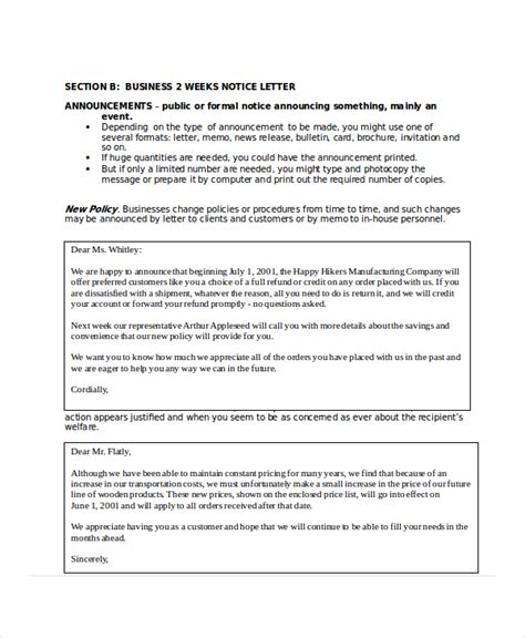 business letter notice 2 week notice letter 7 free word pdf documents
