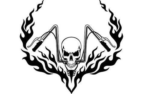 motorcycle logo 7 skull chopper handle bars flames bike biker