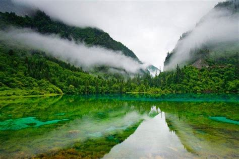 clearest lake in china facts jiuzhaigou nature reserve china lake clear water trees mountain clouds five colored lake