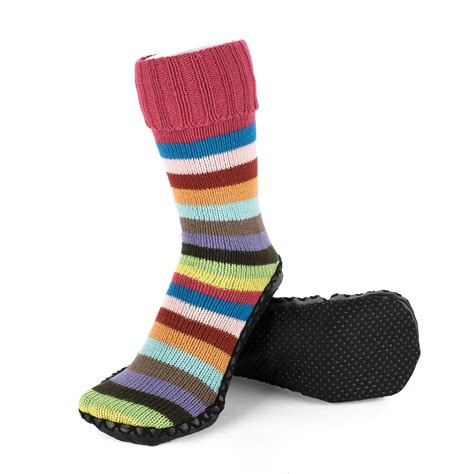 indoor slipper boots indoor knitted slipper boots with gripper sole striped