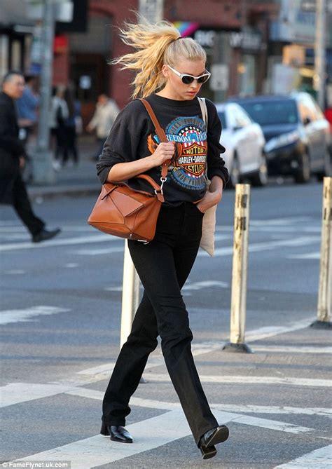 Sweater Harley Davidson 04 elsa hosk steps out in harley davidson sweater in new york