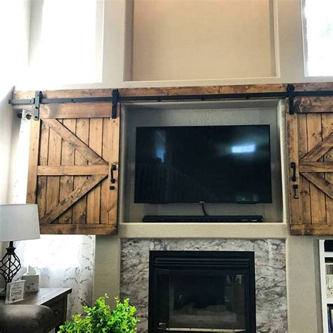 hidden tv with doors hidden sliding tv barn door set rustic tv barn door