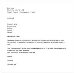 Letter Of Resignation Template Word Free by Notice Of Resignation Letter Template 10 Free Word