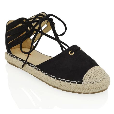 Flat Shoes Import Gea9100bu womens lace up flat espadrilles sandals ankle straps casual shoes size ebay