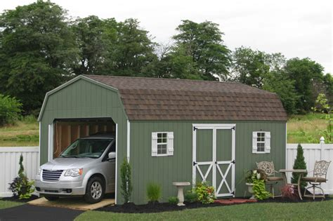 Car Shed by Prefab One Car Garage Sheds Traditional Garage And