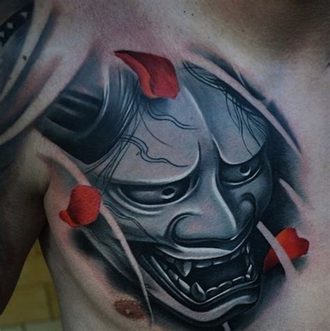 tattoo design japanese mask 63 classic mask tattoos on chest