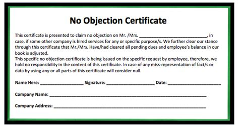 land objection certificate format legal news law