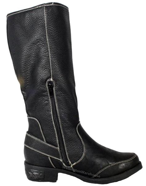 manfield womens black brown heel cowboy warm high