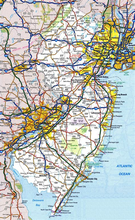 map of usa cities and highways large detailed roads and highways map of new jersey state