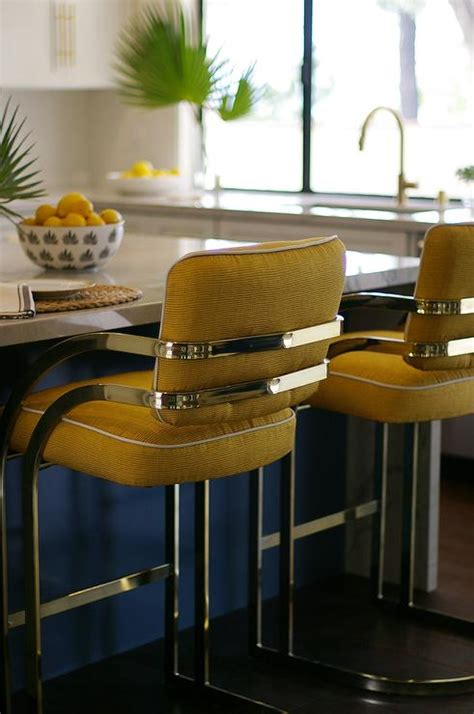 Brown And Yellow Stool by Blue Gray Kitchen Island With Brass T Pulls