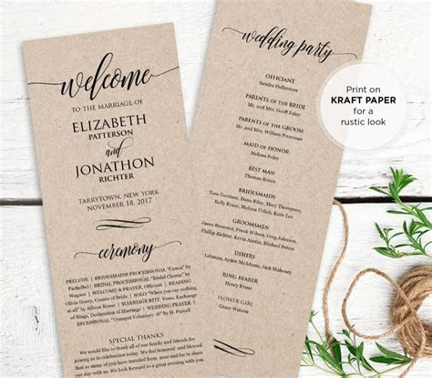 wedding ceremony order of service template wedding program printable order of service rustic