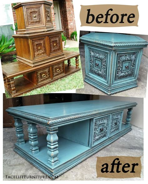 Dressing Up Kitchen Cabinets sea blue chunky coffee amp end tables before amp after