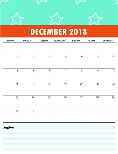Cute Free Monthly Printable Calendar 2018 Calendar 2018 Calendar Design Template 2018
