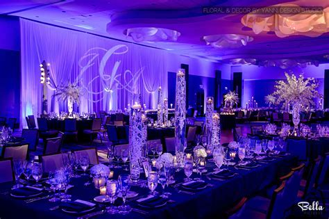 Modern LED light Wedding reception decor at the Loews
