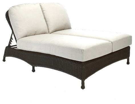 classic wicker outdoor chaise lounge with cushions
