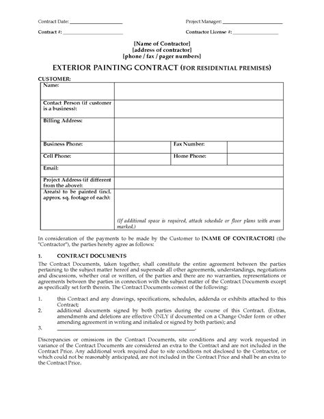 Exterior Painting Contract Residential Legal Forms And Business Templates Megadox Com Painting Contract Template