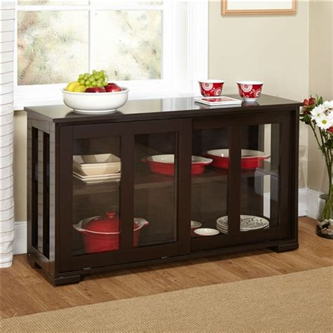 Glass Buffet Cabinet by Espresso Sideboard Buffet Dining Kitchen Cabinet With 2