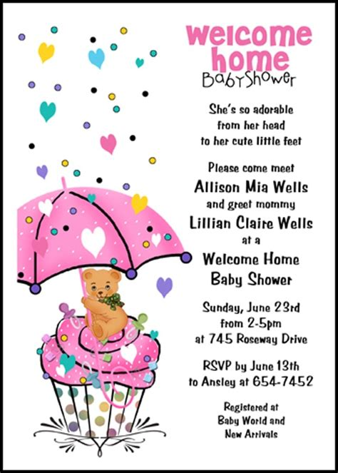 Welcome Home Baby Shower lots of welcome home baby shower invitations ideas
