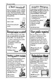English worksheet: Newspaper Job Advertisements | Idées
