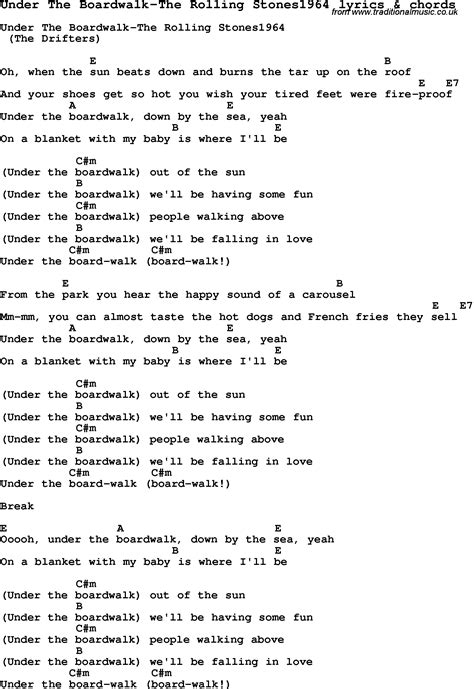 printable lyrics to under the boardwalk love song lyrics for under the boardwalk the rolling